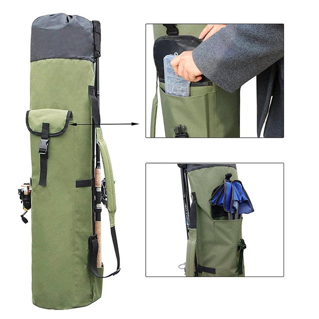 01b0238e1293 Fishing Rod Case Canvas Reel Organizer Travel Carry Pole Tools Bag ...