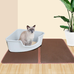 New Design Wholesale Custom Coffee Double Layer Easy Clean Waterproof EVA Cat Litter Trap Mat with Two Sizes of M and L
