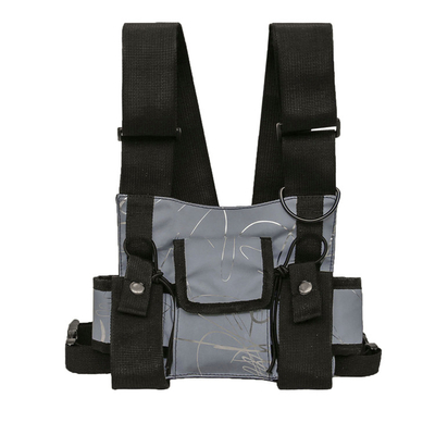 Reflective Fabric Universal Radio Chest Rig Holster Harness Vest with Front Pouch for Two Way Walkie Talkie (Rescue Essentials)