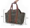 Heavy Duty Waterproof Firewood Waxed Canvas Log Carrier Bag