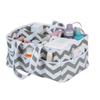 Striped Multi-compartment Foldable Rectangular Fabric Storage Box with Handle