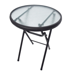 Outdoor Folding Tempered Round Glass Dinning Table