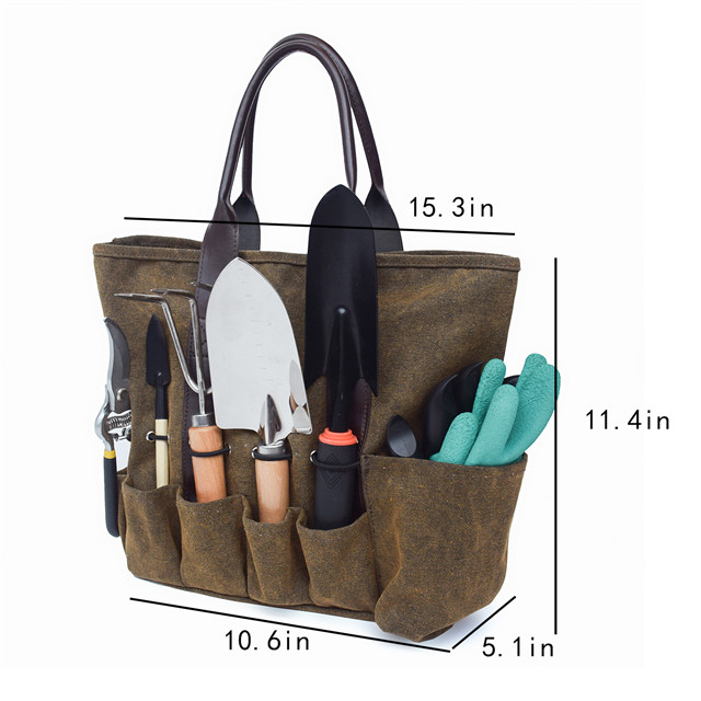 Canvas Garden Tote Pouch, Vegetable Herb Garden Hand Tool Storage Tote, With Leather Hand